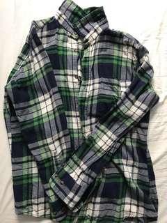 🚚 Lativ 舒棉材質 藍綠格紋襯衫