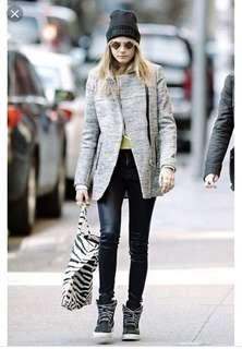 Maje asymmetrical tweed coat / size 36