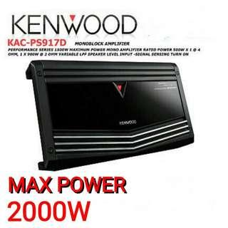 👍👍Kenwood KAC-PS917D 2000W Class D Mono 1000W RMS Amplifier Car Audio Sub Amp. Usual Price :$399 Special  Price : $229 (Brand new in box and sealed)