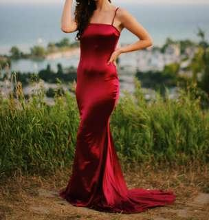 Red satin long dress/evening gown