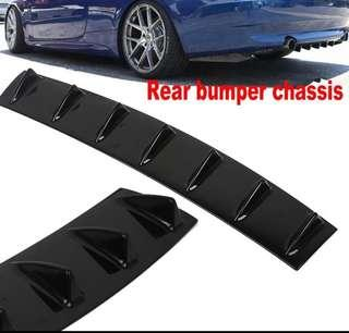 Rear bumper chassis shark fin spoiler ABS material 7 wing lip black colour