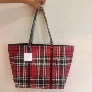 Tas Wanita New Look Tartan Tote Bag Original