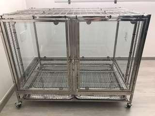 🚚 Stainless steel Dog / Parrot Cage with glass panels