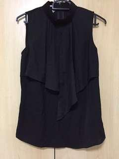 🚚 IORA High Collar Black Sleeveless Blouse