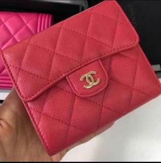 Chanel trifold wallet in raspberry pink cavier with LGW