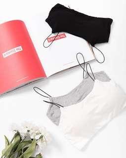 全新 Queen Shop 黑色幼帶 bra top 帶胸墊