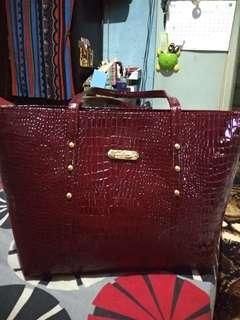 Croco Maroon Bag New