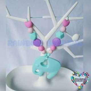 Handmade customised Turquoise blue elephant Teether with beads Carrier Accessory