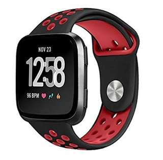 Fitbit Versa SmartWatch and Versa Lite SE  Silicone Watch Strap with Ventilation Holes Replacement Wristband Black Red