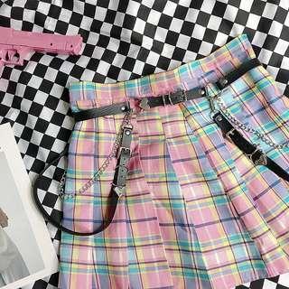 Checkered Pleat Skirt Plaid Rainbow Harajuku skirt japanese jpop korean kpop skirt