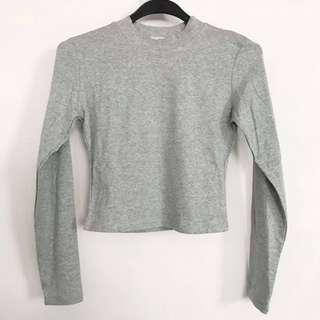BNWT Long Sleeve Grey Crop Top