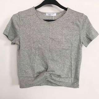 BNWT Grey Knotted Crop Top