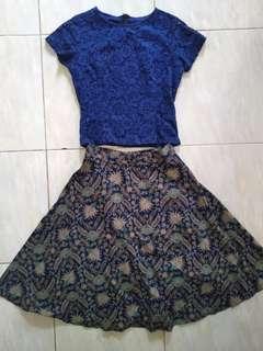 Dress brokat-rok batik
