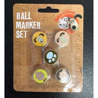 Brand New Wallace and Gromit Golf Ball Marker Set
