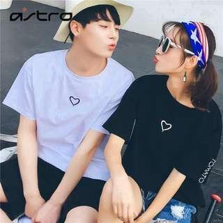 Korean Style Couple Set Simple Love Large Size Lovers T-shirt (SET OF 2 PCS)