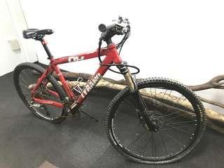 Mountain bike with disc break carbon fiber and titanium frame shimano