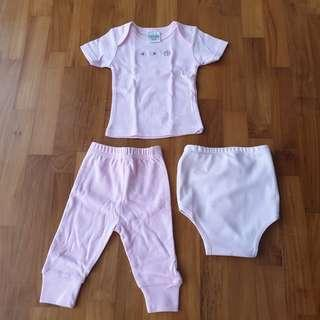 [0-6 Months Baby] Pink Newborn Baby / Infant T-Shirt, Pants & Diaper Cover