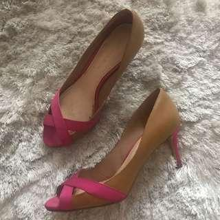 Charles and Keith Brown Pink open toe kitten heels