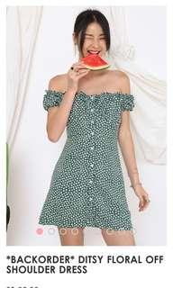 Supergurl ditsy floral off shoulder dress