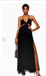 Topshop Rainbow Studded Maxi dress Cut Out with Slit