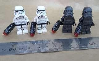 Lego 白兵 黑兵 人仔 共4隻,請留意交收時間與地點