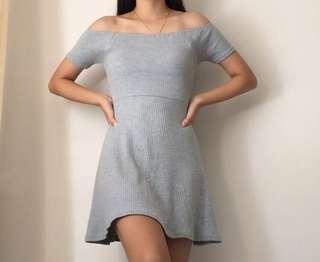 Off the Shoulder Ribbed Dress