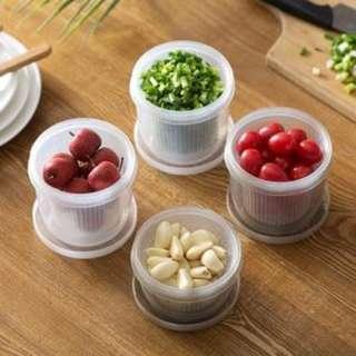 水果蔥花薑片保鮮盒 冰箱圓形瀝水保鮮盒 雙層密封蔥薑蒜保鮮盒 廚房收納盒