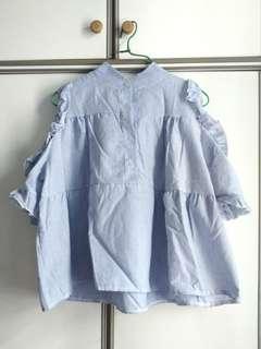 全新藍白直間娃娃上衣