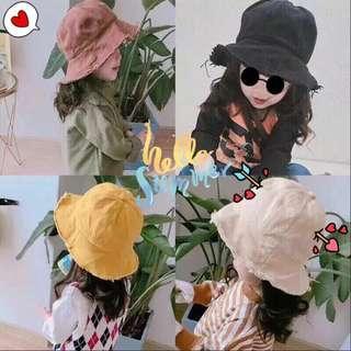 毛邊純色兒童漁夫帽男女寶寶帽 韓版新款 親子款帽子