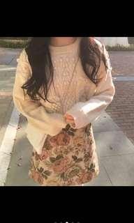 🚚 古著 花紋半身短裙