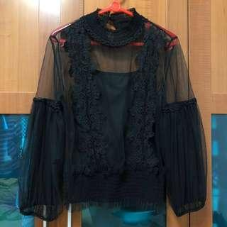 Two piece Black lace sleeve translucent gothic top empire