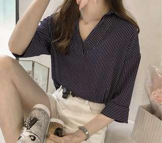 Navy Blue Striped 3/4 Sleeve Top