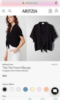 ARITZIA Wilfred Free Tie-Front Blouse
