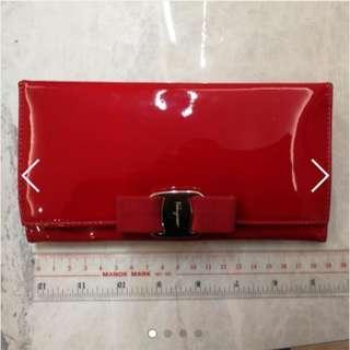 Salvatore Ferragamo 紅色漆皮女裝銀包 purse wallet