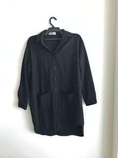 🚚 黑色毛料長版襯衫