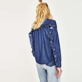 Zara shirt with frilled sleeves