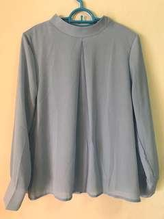 Baby blue work blouse