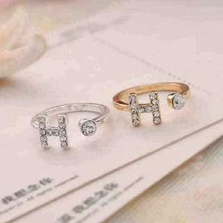 Korean Style H Fashion Women Adjustable Ring Trend Jewelry Gift