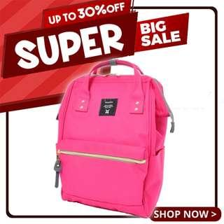 Ready Stock Sales! Anello Polyester Canvas Mouthpiece Backpack (Shocking Pink) | 100% Authentic!