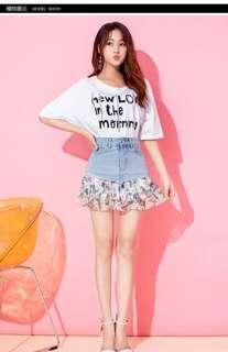 A Skirt High Waist Denim Skirt