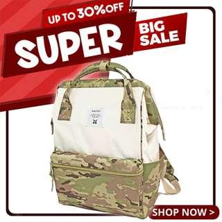 Ready Stock Sales! |  Anello Polyester Canvas Mouthpiece Backpack (White/Camouflage Khaki) | 100% Authentic!