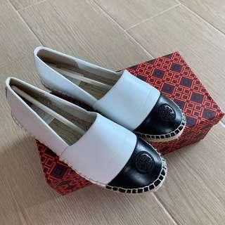 Tory burch 漁夫鞋 草鞋 皮鞋 COLOR-BLOCK LEATHER ESPADRILLE flat shoes