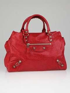 Balenciaga Sang Red Lambskin Leather Giant 12 Rose Gold Midday Bag