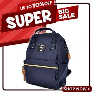 Ready Stock Sale! | Anello Polyester Canvas Mouthpiece Mini Backpack (Navy) | 100% Authentic!