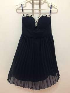 Navy Strapless Sweetheart Dress with Pearl Beads embellishment