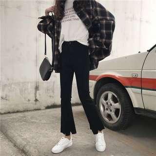🚚 高腰顯瘦韓版不規則牛仔喇叭褲