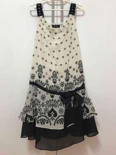 🚚 Off white & black Chiffon Dress. Drophem