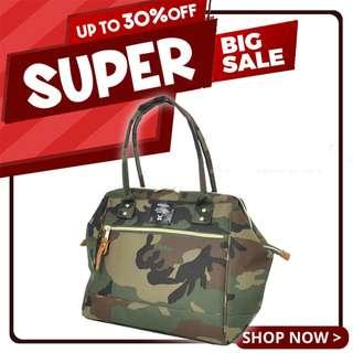 Ready Stock Sales! | Anello Polyester Canvas Mouthpiece Boston Bag (Camouflage) | 100% Authentic!