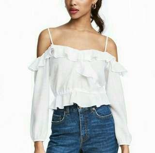 H&M White Sabrina /Off Shoulder Top