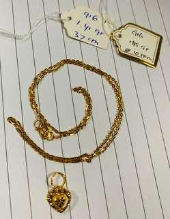 🚚 916 Gold Necklace set